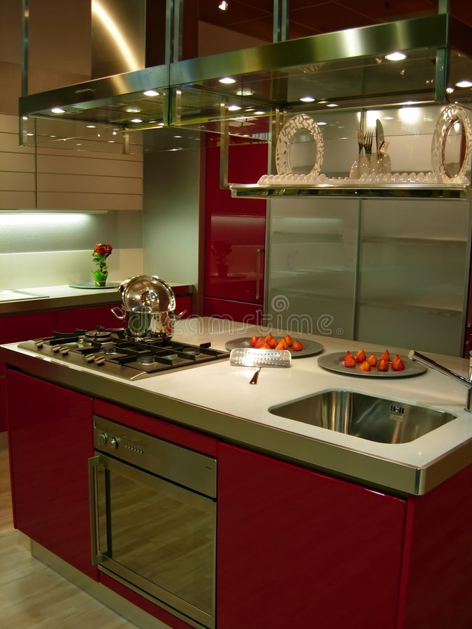 Download Red kitchen stock photo. Image of kitchen, metal, food - 1180318