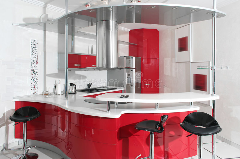 Red kitchen. Interior red kitchen with metal stock photography