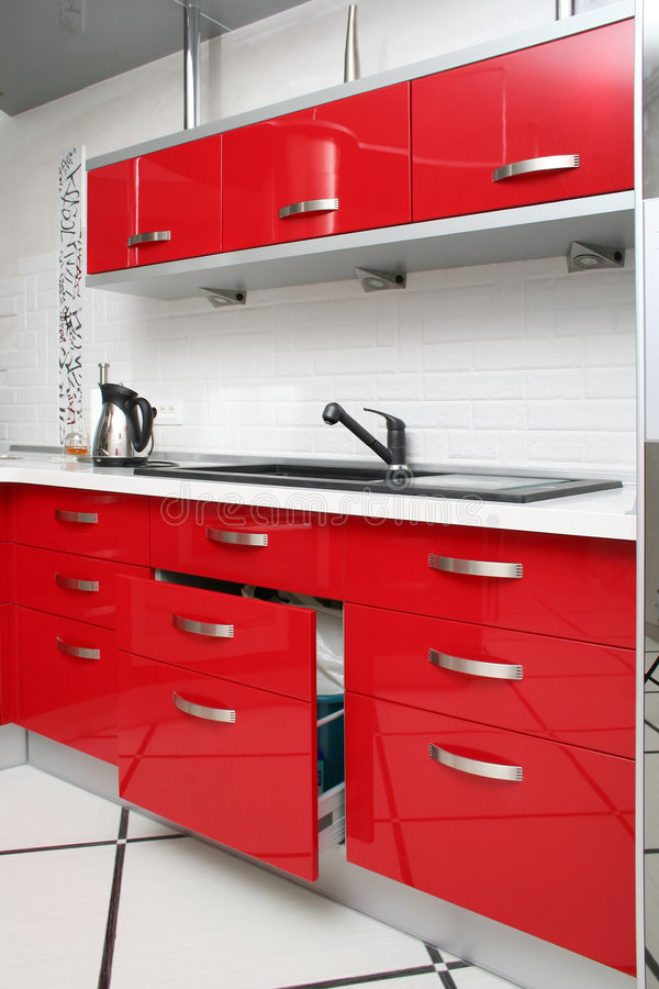 Download Red kitchen stock image. Image of cooker, stove, counter - 1307107