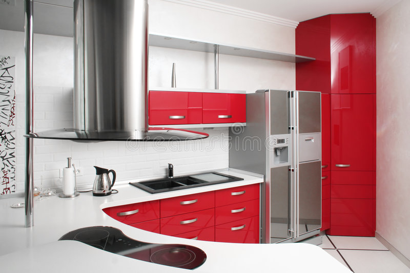 Red kitchen. Interior red kitchen with metal stock photos