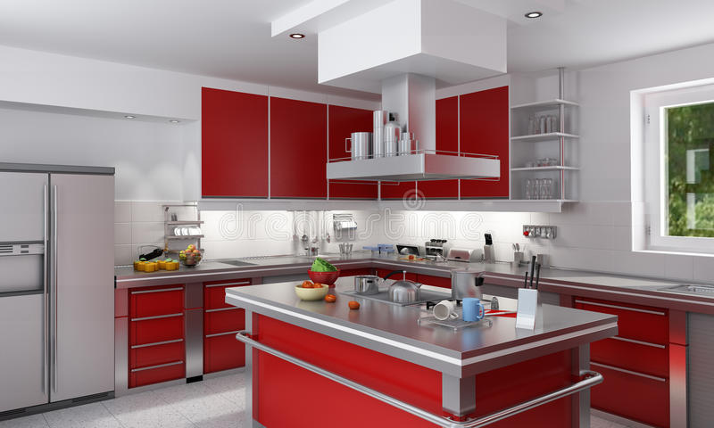Red kitchen stock image