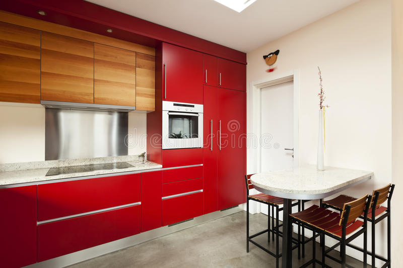 Download Red kitchen stock image. Image of nice, room, home, chair - 21944715