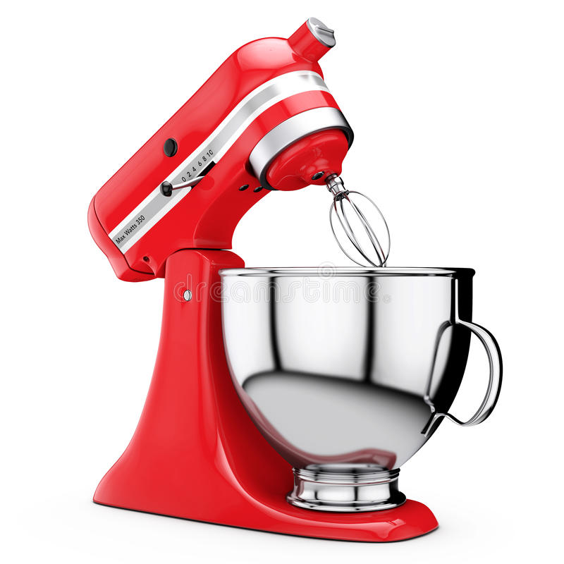 Red Kitchen Stand Food Mixer. 3d Rendering royalty free illustration