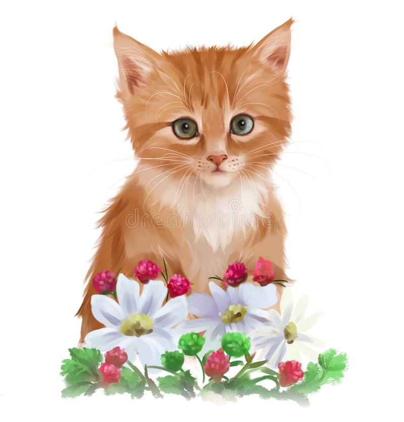 Red kitten and garden flowers. Watercolor drawing stock illustration