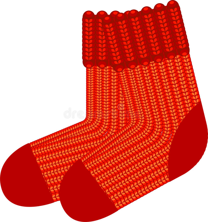 Download Red knit wool socks stock vector. Illustration of stockings - 16635025