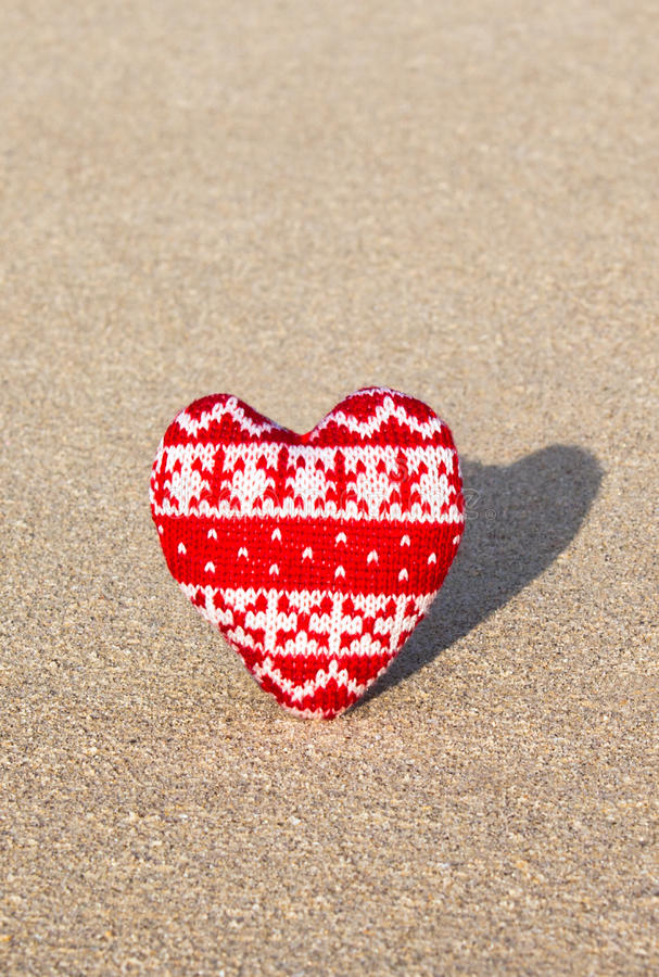 Download Red Knitted Heart On Sea Sand Stock Photo - Image: 17827678