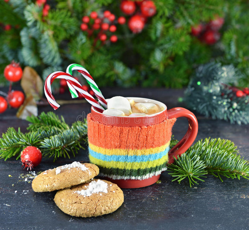 Red knitted mug with Christmas drink and cookies stock photography