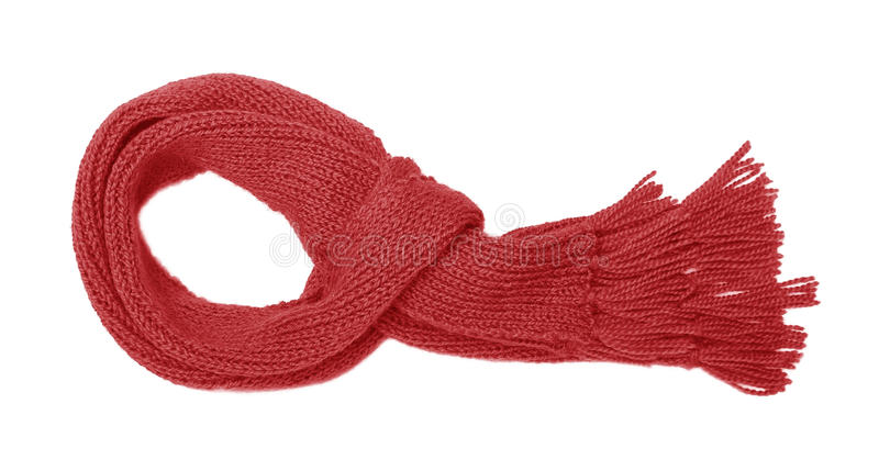 Red knitted scarf isolate. stock photos