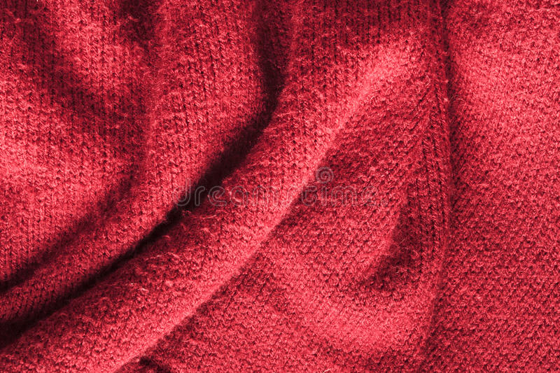 Red knitted wool stock photo