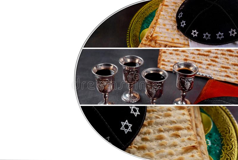 Red kosher wine four of matzah or matza Passover Haggadah on a vintage wood background. Red kosher four glasses wine with a of matzah a Passover Haggadah on a stock images