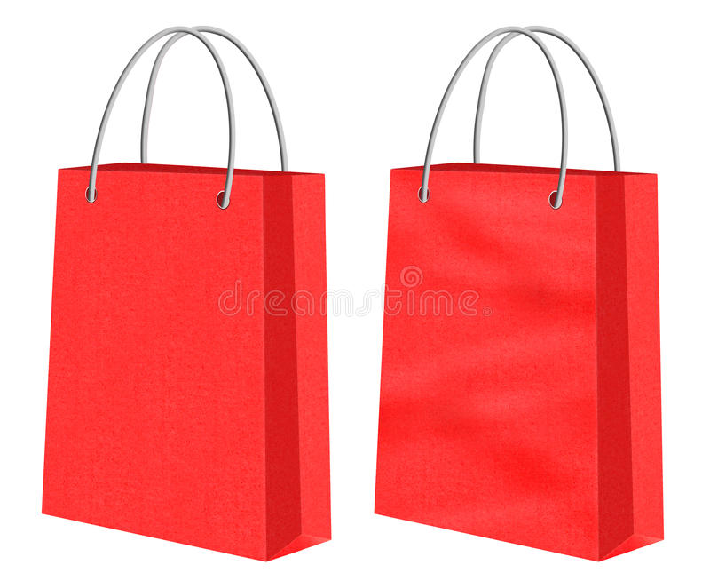 Red kraft shopping paper bags. Red biodegradable Kraft shopping paper bags -one smooth the other creased or with chasms. Image isolated on white background stock illustration