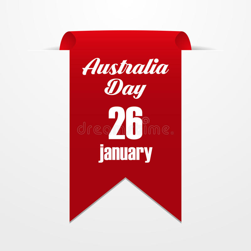 Red label with the date of Australia Day. Vector illustration stock illustration