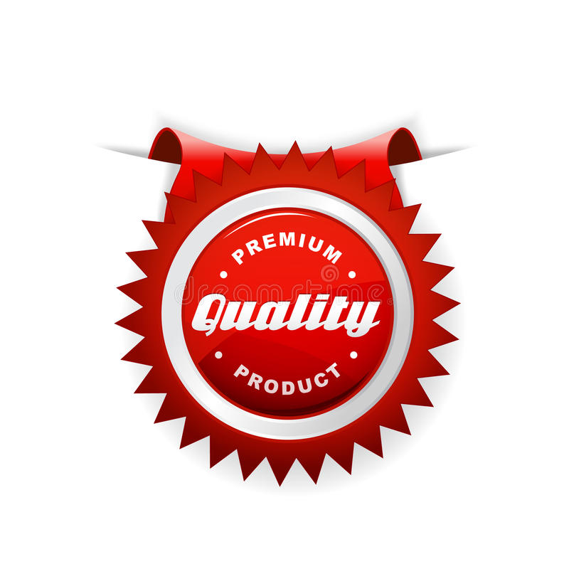 Red label with quality sign. vector illustration