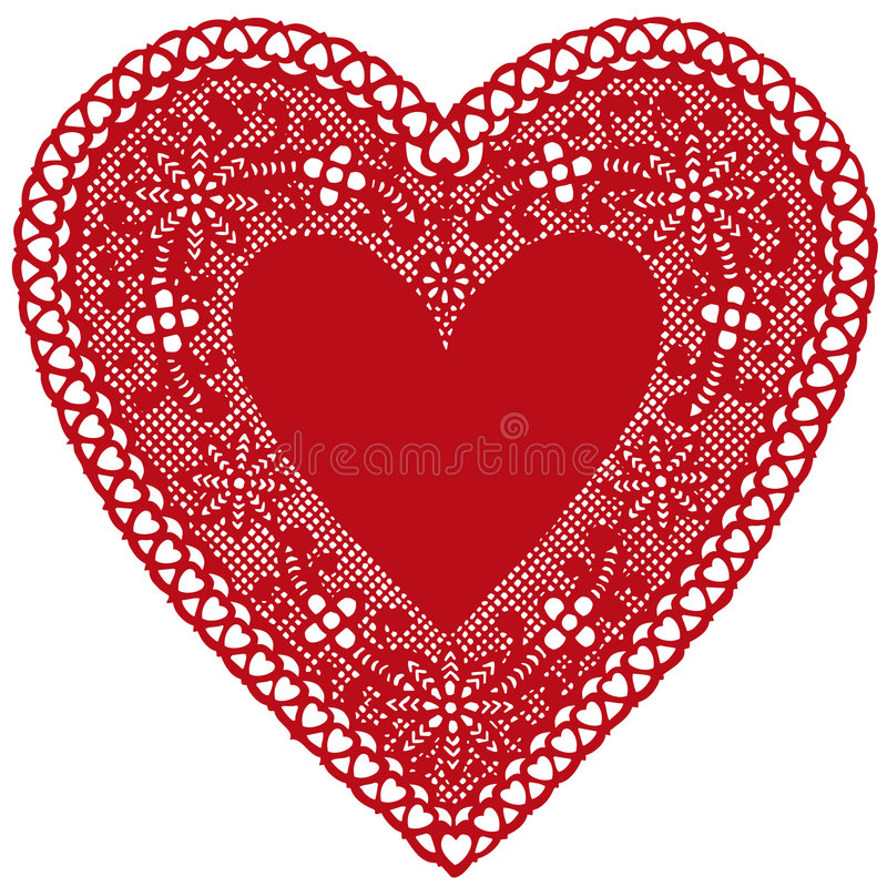 Red Lace Heart Doily on White Background. Antique red lace heart doily on a white background. Copy space to add your message for Mother's Day, Valentine's Day royalty free illustration