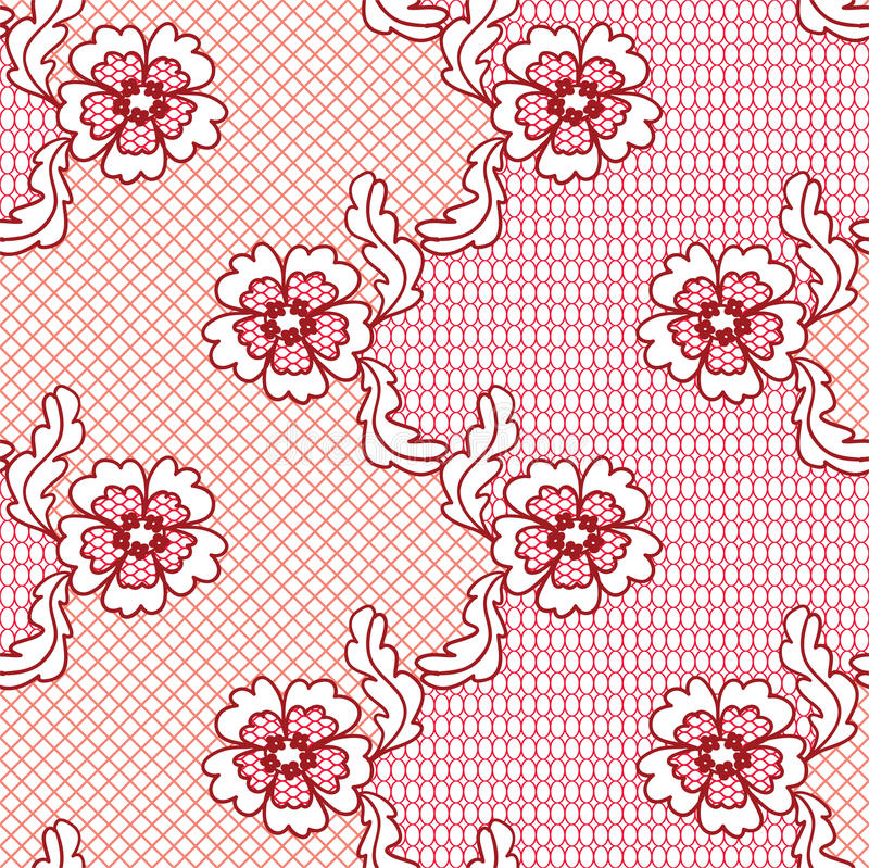 Red lace vector fabric seamless pattern royalty free illustration
