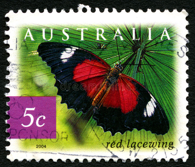 Red Lacewing Butterfly Australian Postage Stamp. AUSTRALIA - CIRCA 2003: A used postage stamp from Australia, depicting an image of a red Lacewing Butterfly stock photos