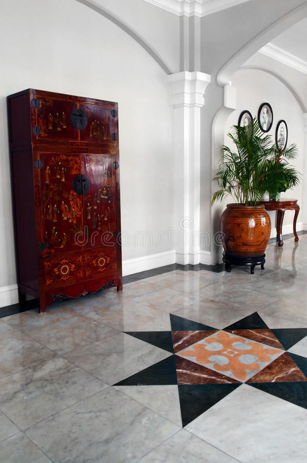 Red lacquered chest, heritage hotel interior royalty free stock photography