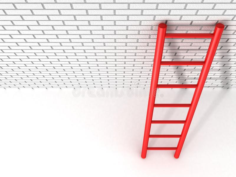 Red ladder leans against a brick wall vector illustration