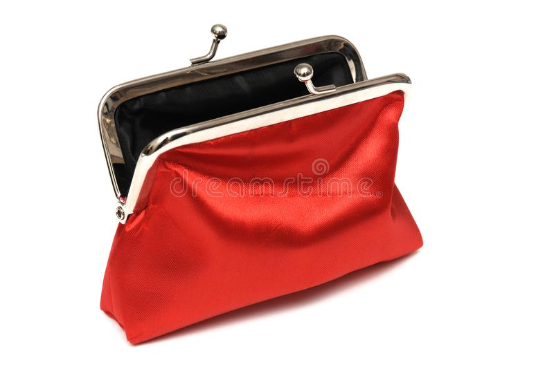 A red lady coin pouch with snap button opening royalty free stock photography