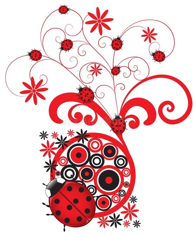 Download Red Ladybug Flourish stock illustration. Image of decorative - 24103558
