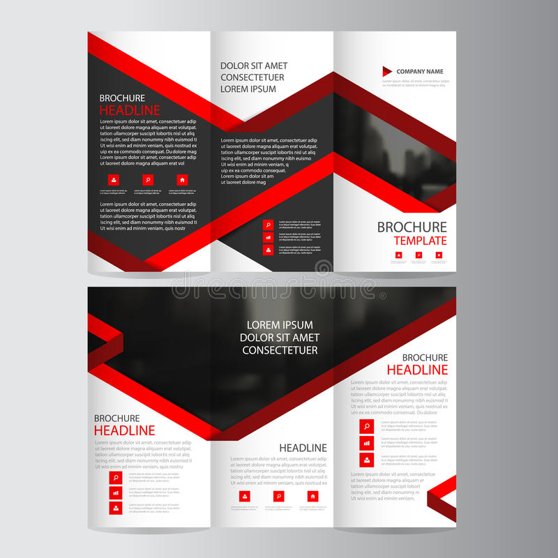 Red lael business trifold Leaflet Brochure Flyer report template vector minimal flat design set, abstract three fold presentation stock illustration