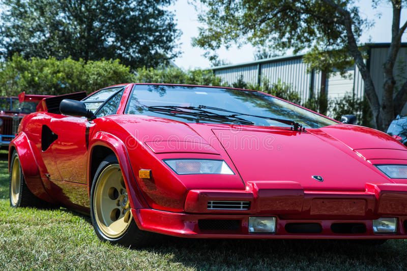 Red Lamborghini Countach. Front Quarter View of a Red Lamborghini Countach royalty free stock images