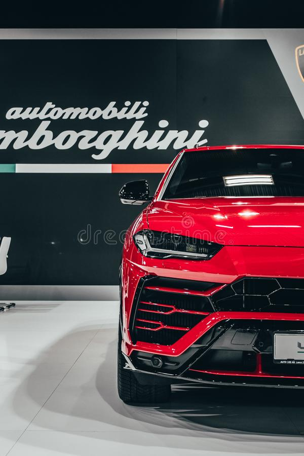 Red Lamborghini Urus on the car show. In Latvia, Riga stock photography
