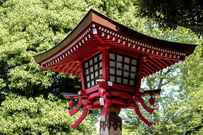 Red lamp in japan temple royalty free stock image