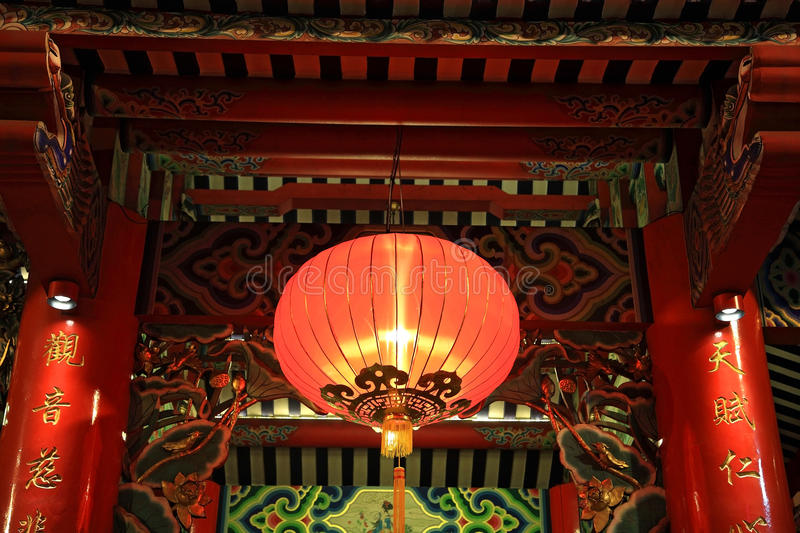 Red lamp or lantern hanging on chinese temple royalty free stock photo