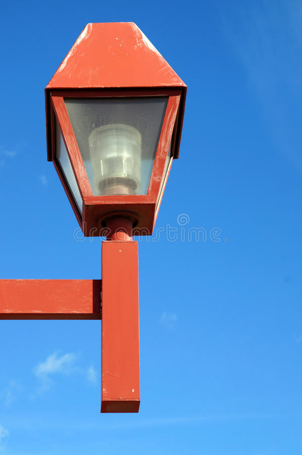 Red Lamp post stock photography