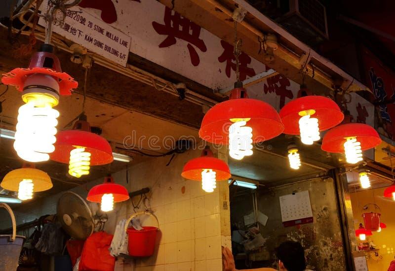 Red lamps in Hong Kong royalty free stock photos