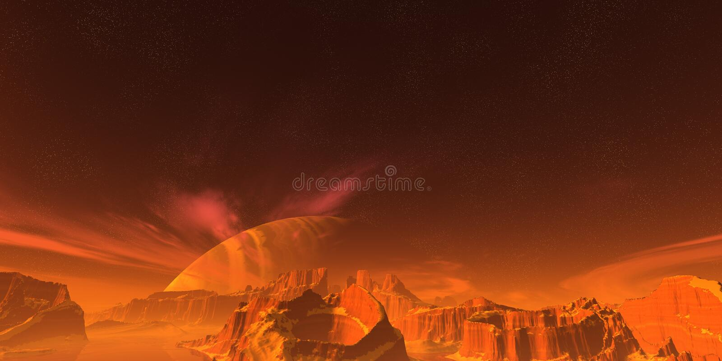 Red landscape stock illustration