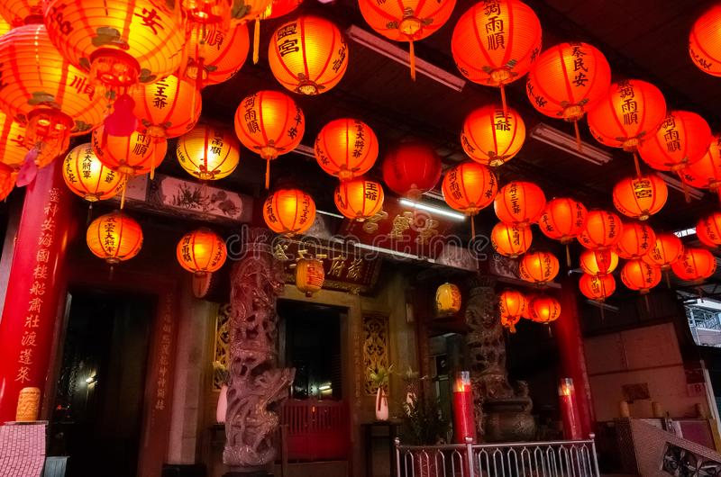 Red lanterm hang on the traditional temple royalty free stock images