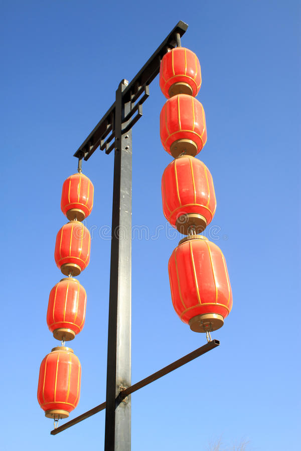 Red lantern. Hanging in the sky stock photography
