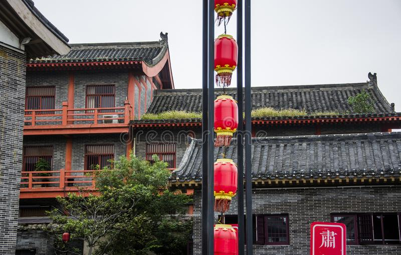 Red lantern and ancient architecture. Henan province has a long tradition culture and history which has many excellent cultural projects from time immemorial royalty free stock photo