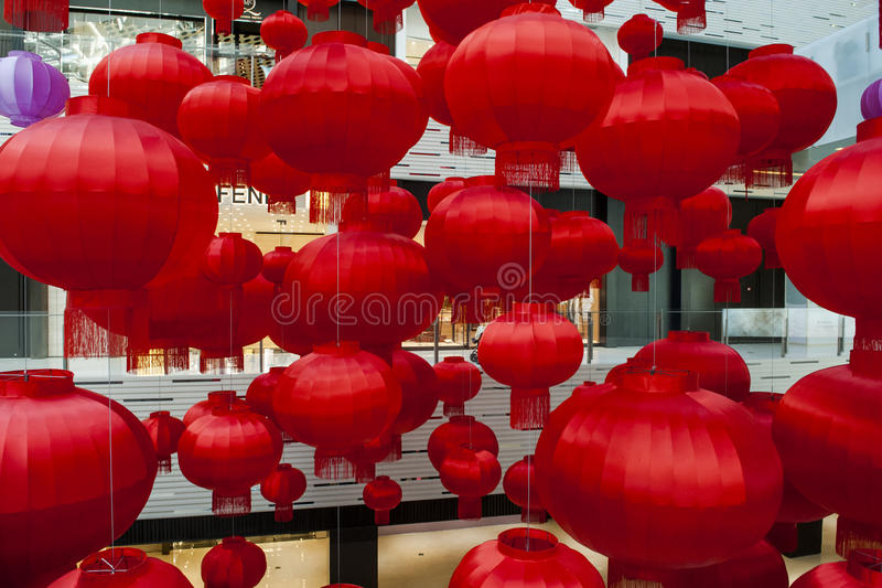 Red Lantern. S are a symbol of Chinese festivity. Photos taken in 2017 Chinese Lunar New Year stock photo