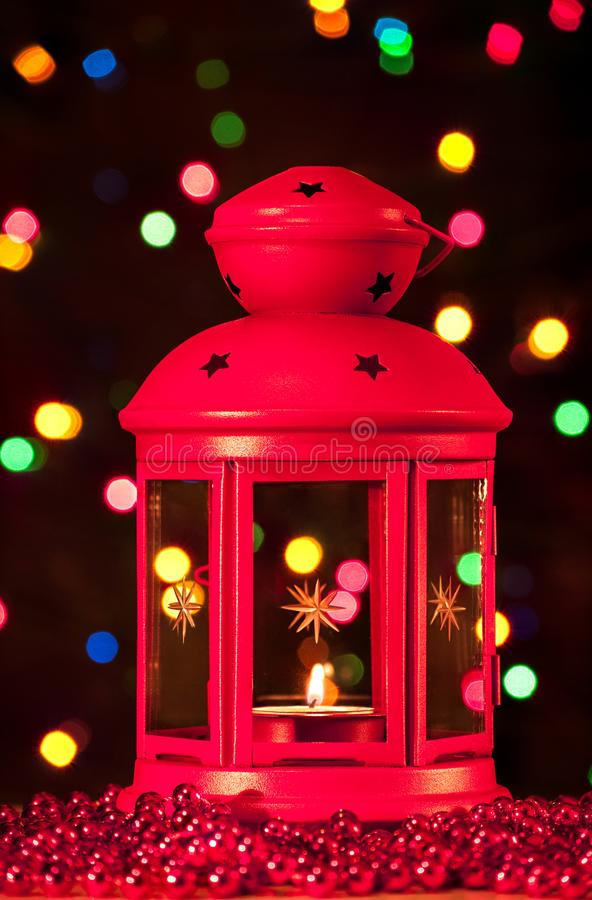 Red lantern. With a lighted candle inside