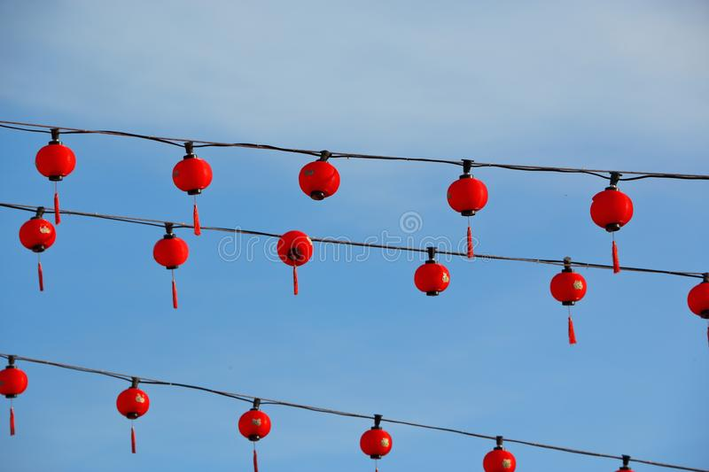 Red lanterns at a chinese temple stock photography