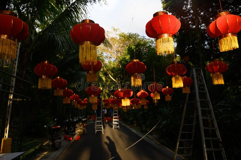 Preparing for the Chinese New Year. Red lanterns decorations. Red lanterns decorations. preparing for the Chinese New Year royalty free stock photo