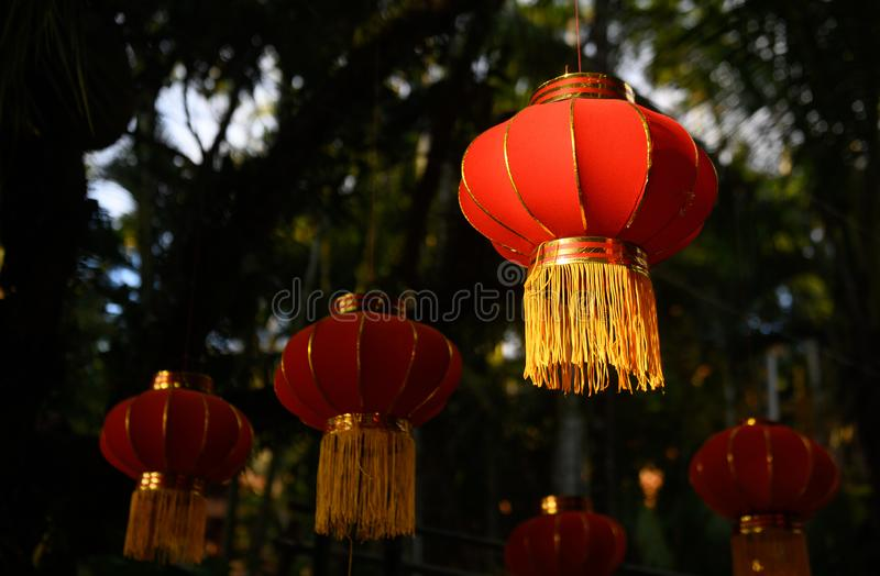 Preparing for the Chinese New Year. Red lanterns decorations. Red lanterns decorations. preparing for the Chinese New Year royalty free stock image
