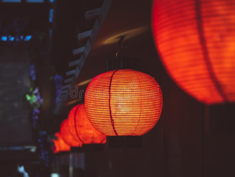 Red Lanterns lighting decoration Japan nightlife Bar street district royalty free stock photography