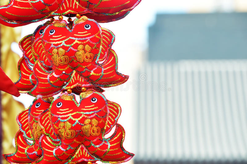 Red lanterns, red firecrackers, red pepper, red everyone, red Chinese knot, red packet...The Spring Festival is coming. Spring Festival ornaments shop full of royalty free stock image