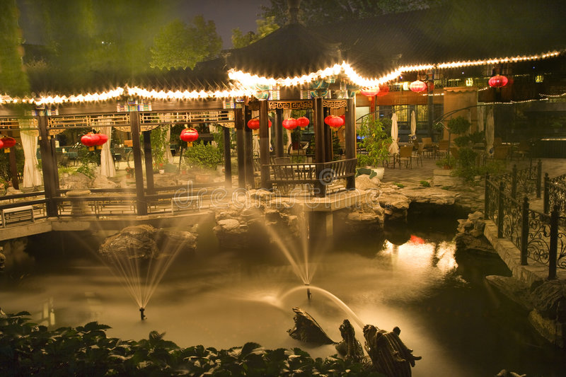 Red Lanterns Temple Sun Beijing China Night royalty free stock images