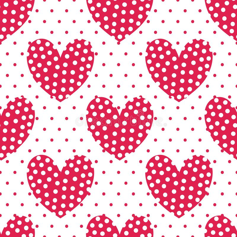 Perfect red hearts with polka dots. Vector endless project. Seamless pattern. vector illustration