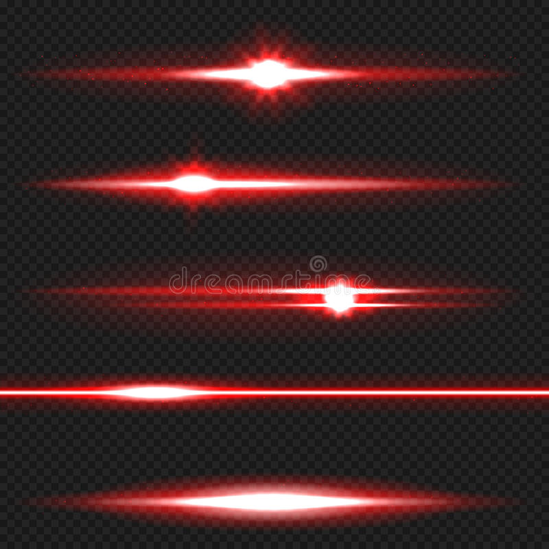 Red laser beams pack stock illustration