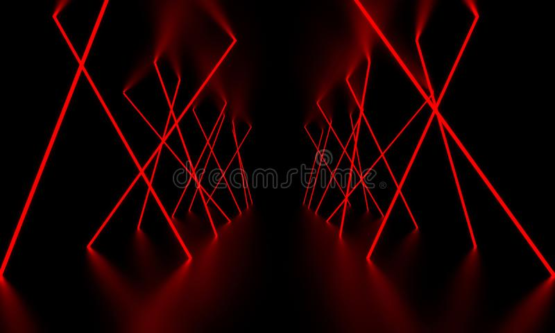 Red laser light glow in the dark room. 3D Illustration royalty free stock image