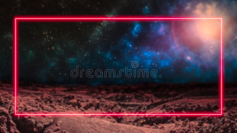 Red laser neon light frame over outer space background with galaxies and stars. Extraterrestrial alien planet. Copy space for text or product display vector illustration