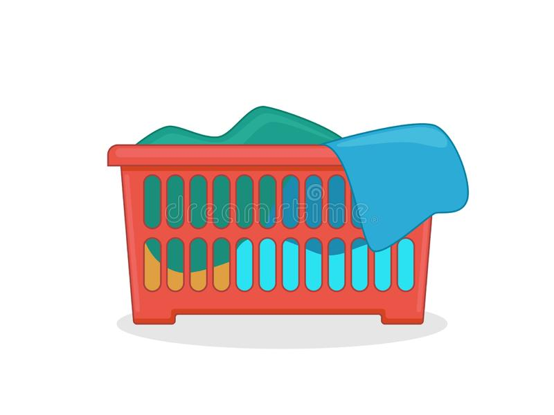 Red laundry basket with colorful clothes. Flat style  illustration.  vector illustration