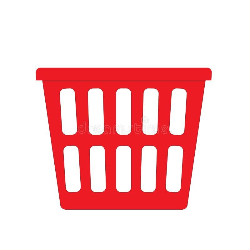 Red Laundry basket. Isolated on a white background stock illustration