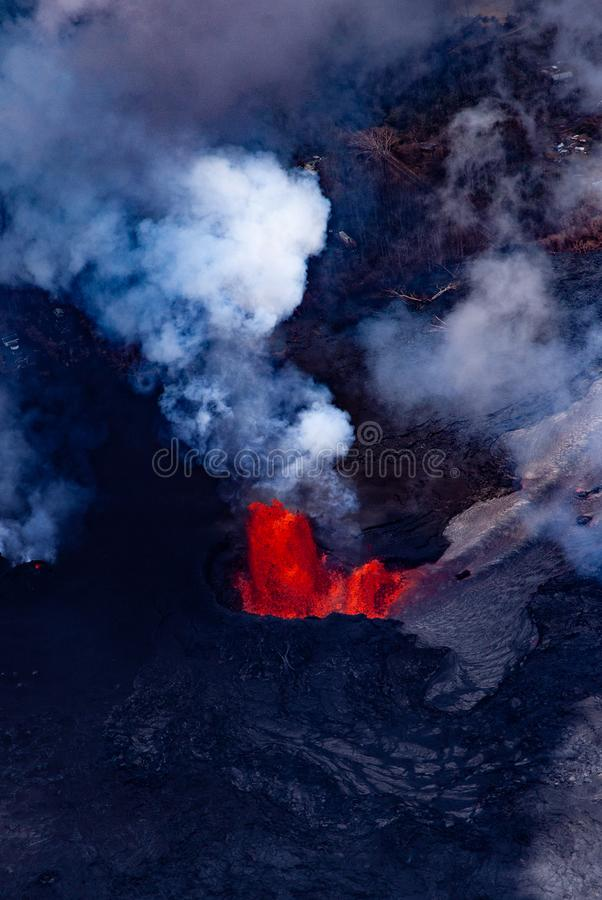 Red Lava and Smoke of Volcano stock photo